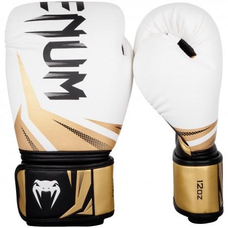 Guantes boxeo Venum Challenger 3.0 Blanco/Negro/Oro